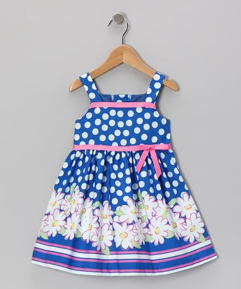 Navy Flower A-Line Dress - Toddler