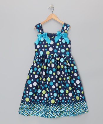 Turquoise Polka Dot A-Line Dress - Girls