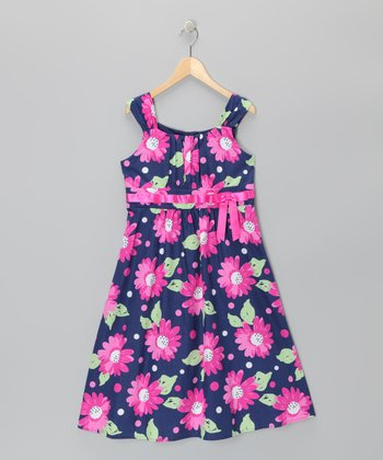 Navy Floral Emma A-Line Dress - Girls