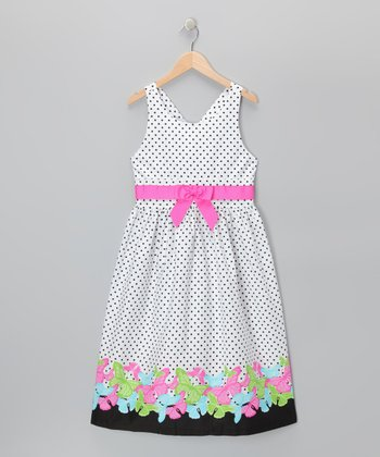 White Polka Dot Cross-Back Dress - Girls