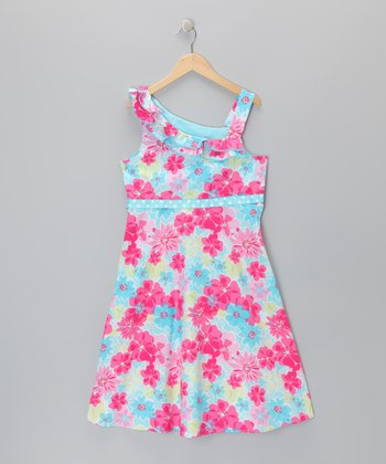 Pink Floral Asymmetrical Dress - Girls