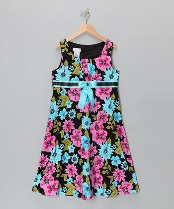Black Floral Emma A-Line Dress - Girls