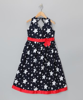 Navy Star Halter A-Line Dress - Girls