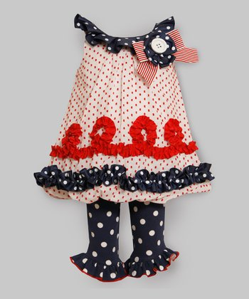 Patriotic Polka Dot Ruffle Tunic & Leggings - Infant