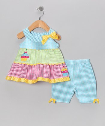 Blue Seersucker Dress & Capri Leggings - Infant & Toddler