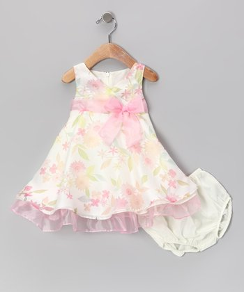 Pink Floral Dress & Diaper Cover - Infant