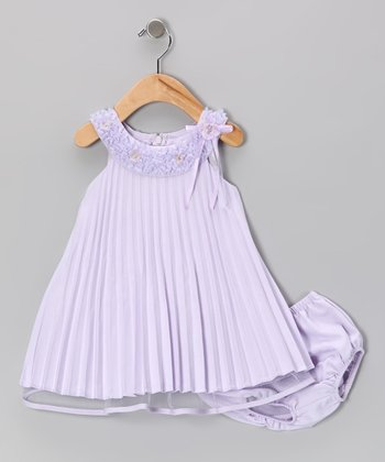 Lilac Pleated Dress & Diaper Cover - Infant