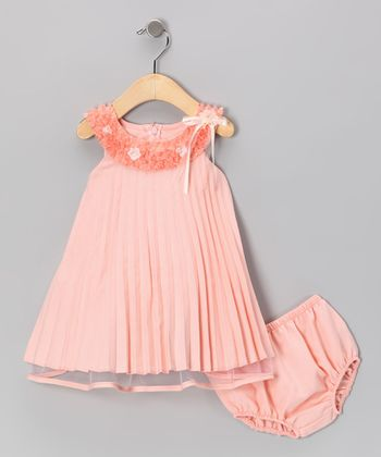 Peach Pleated Dress & Diaper Cover - Infant