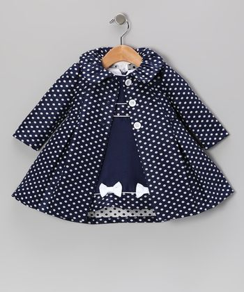 Navy Polka Dot Dress & Coat - Infant