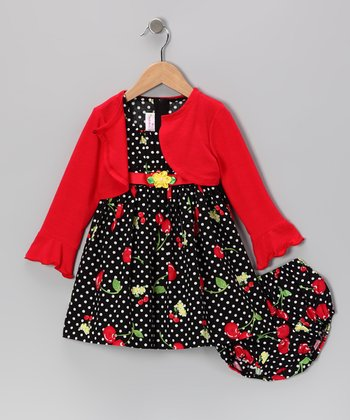 Red Cherry Dress Set - Infant