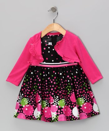 Fuchsia Bubble Dot Dress & Cardigan - Infant & Toddler