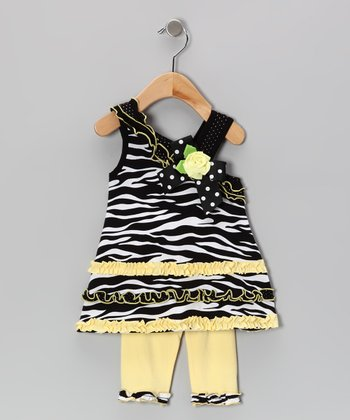 Yellow Zebra Asymmetrical Dress & Leggings - Infant