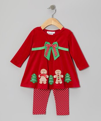 Red Gingerbread Velour Dress & Leggings - Girls