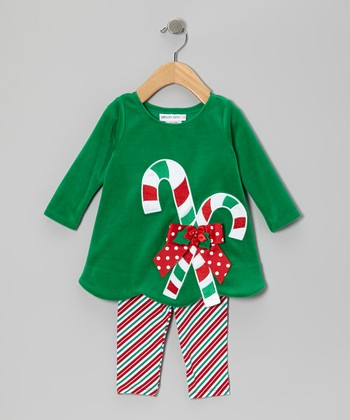 Green Candy Cane Top & Leggings - Girls