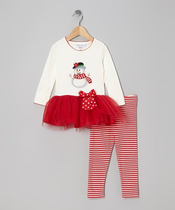 Ivory & Red Snowman Tutu Dress & Leggings - Girls