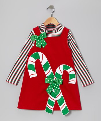 Red Candy Cane Corduroy Top & Jumper - Infant & Girls