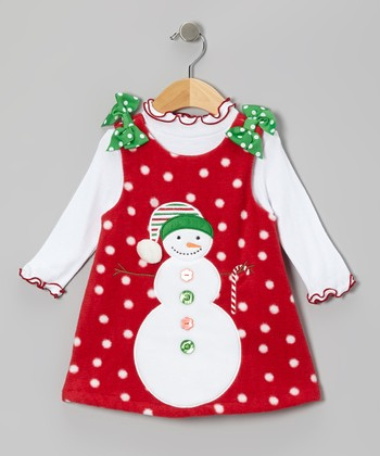 Red Snowman Fleece Jumper & Top - Girls