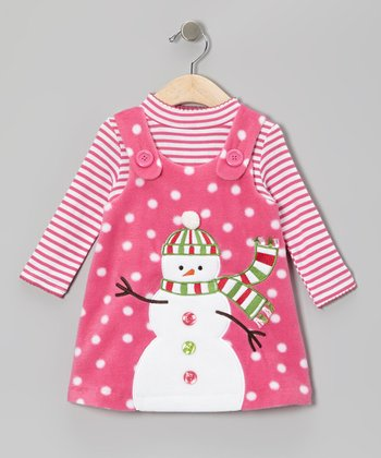 Pink Fleece Snowman Top & Fleece Jumper - Girls