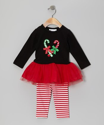 Black & Red Candy Cane Dress & Leggings - Infant & Girls