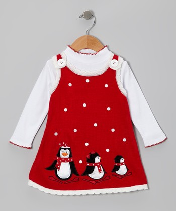 Red Penguin Top & Knit Jumper - Girls