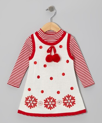 Ivory & Red Snowflake Top & Knit Jumper - Infant & Girls