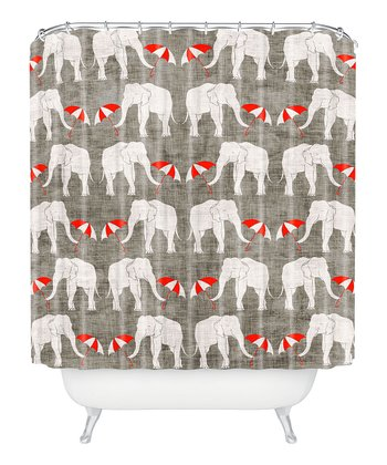 Elephant & Umbrella Shower Curtain