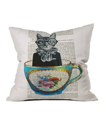 Cat & Cup Throw Pillow