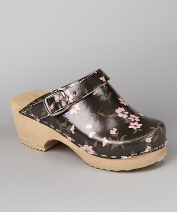 Black & Pink Cherry Blossom Leather Clog - Kids
