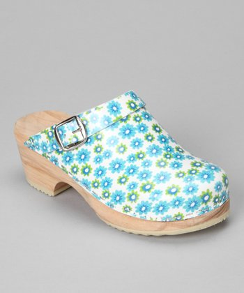 Blue & Green Twin Flower Leather Clog - Kids