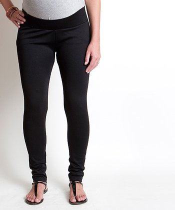 Black Ponte Cindy Maternity Leggings