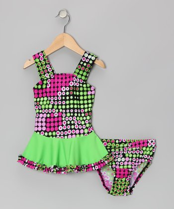 Pink & Green Sushi Dot Ruffle Tankini - Infant & Toddler