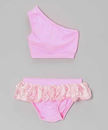Pink Lace Skirted Asymmetrical Bikini - Infant, Toddler & Girls