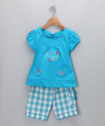 Blue Plaid 'Princess' Tee & Shorts - Infant