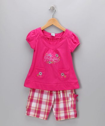 Pink Plaid 'Princess' Tee & Shorts - Infant, Toddler & Girls