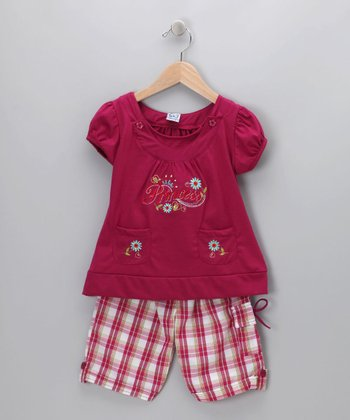 Raspberry Plaid 'Princess' Tee & Shorts - Toddler & Girls