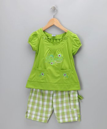 Green Plaid 'Princess' Tee & Shorts - Infant, Toddler & Girls
