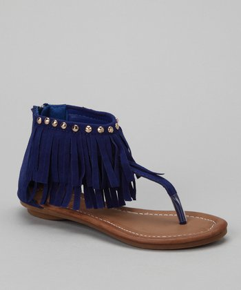 Royal Blue Amalie Fringe Sandal
