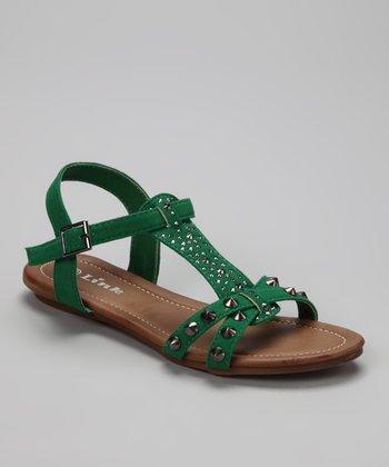 Green Studded Amalie Sandal