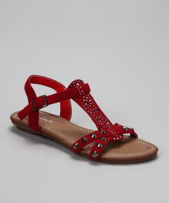 Red Studded Amalie Sandal