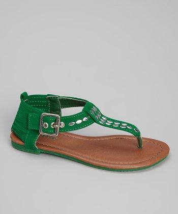 Green Anika T-Strap Sandal