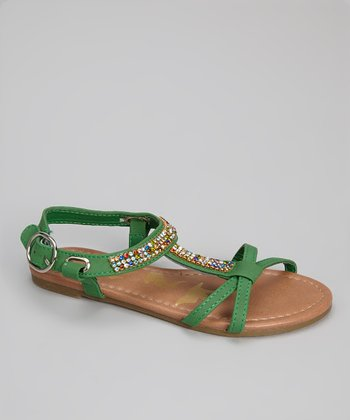 Green Gemstone Calie Strappy Sandal