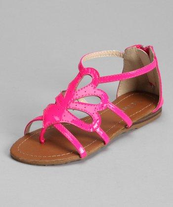 Fuchsia Patent Jasmine Laser-Cut Sandal
