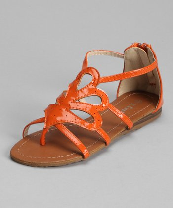 Orange Patent Jasmine Laser-Cut Sandal