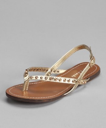 Gold Spike Thong Sandal