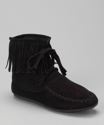 Black Katherine Fringe Ankle Boot