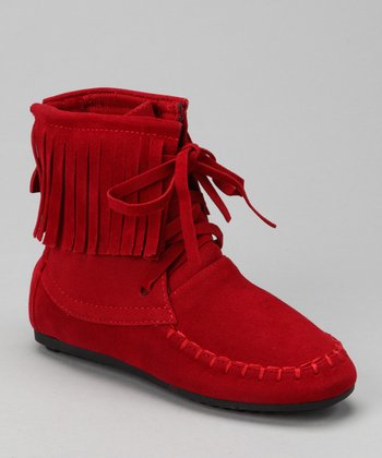 Red Katherine Fringe Ankle Boot