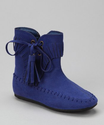 Blue Katherine Tassel Ankle Boot