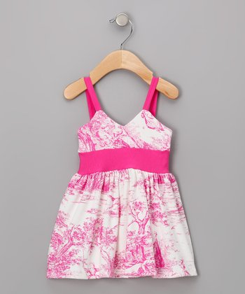Hot Pink Toile Goddess Dress - Infant