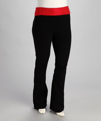 Red Polka Dot 'Love' Yoga Pants - Plus