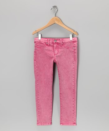 Fuchsia Acid Wash Skinny Jeans - Girls